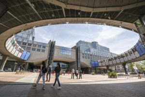 Photo of European Parliament buildings in Brussels.