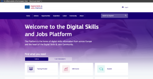 Screenshot of new Digital Skills and Jobs Platform website